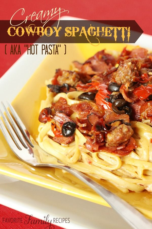 Creamy Cowboy Spaghetti -- this is by far my husband's favorite pasta dish.. if not his all-time favorite meal. Definitely a man pleaser!