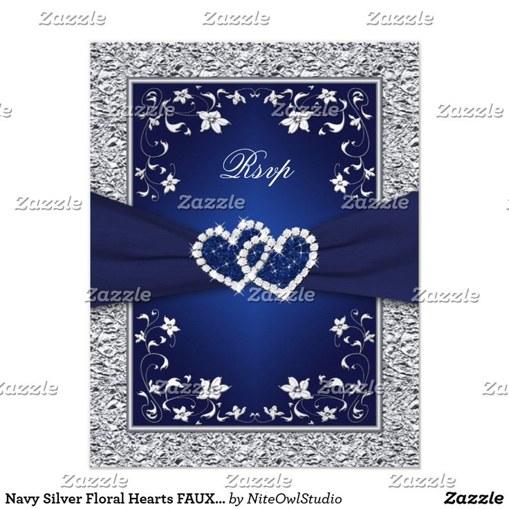 Navy Silver Floral Hearts FAUX Foil Wedding RSVP Card This romantic and dramatic navy blue and silver gray floral wedding reply card has a PRINTED RIBBON, a pair of PRINTED diamond and glitter joined jewel hearts on it, with silvery grey flowers and a FAUX silver foil border on it that matches the wedding invitation shown below. ****PLEASE NOTE that everything will print as it appears on your monitor, so if you have typos, alignment, or sizing issues, please contact me for help BEFORE you…
