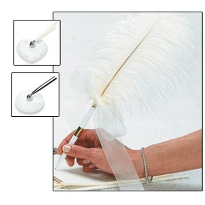 """White Plume Pen (with heart or round base) 17"""" tall"""