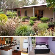 Bear's Den, Denmark, Western Australia.  Comfortable holiday home set on 1.5 acres surrounded by wide verandahs, manicured gardens, ponds, trees and kangaroos! Enjoy the peace and tranquility of this tree-lined property less than 3km away from Denmark, easy walking distance of the inlet and only 500m from the Bibbulmum Track. The property is most suitable for small parties or groups of up to 4 adults and 2 children and has wheelchair access.