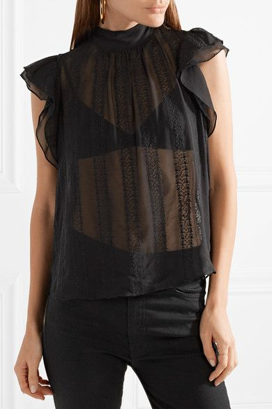Ulla Johnson | Heddy embroidered silk-georgette top | NET-A-PORTER.COM
