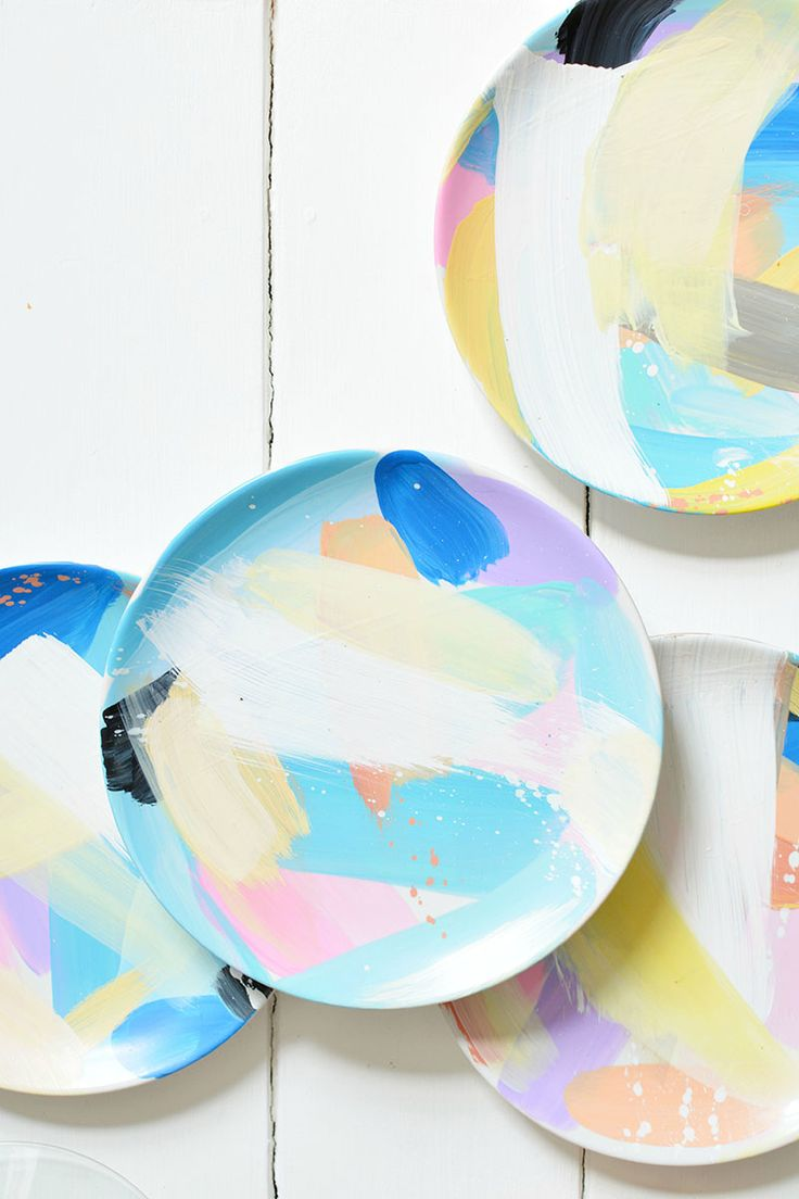 burkatron: DIY   abstract painted tableware
