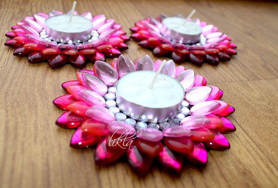 Ombre Pink Diwali Decor Diwali Diya Lotus Rhinestone by Likla