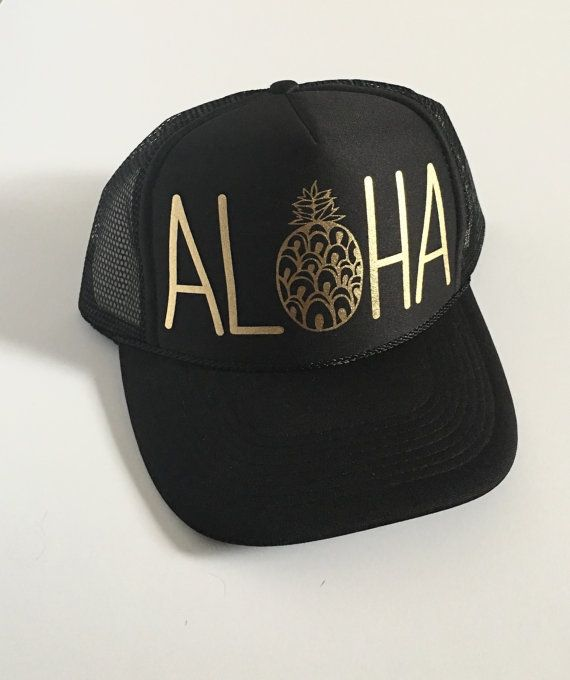 Aloha Trucker Hat| Aloha Hat| Hawaii Hat|Pineapple Hat| Black-Gold Vinyl Print