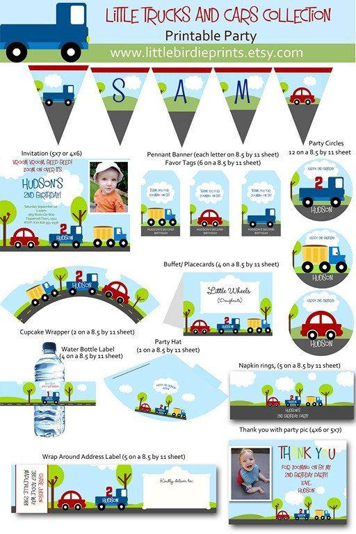 LITTLE CARS and TRUCKS Birthday Invitation with Photo. Printable. $15.00, via Etsy.