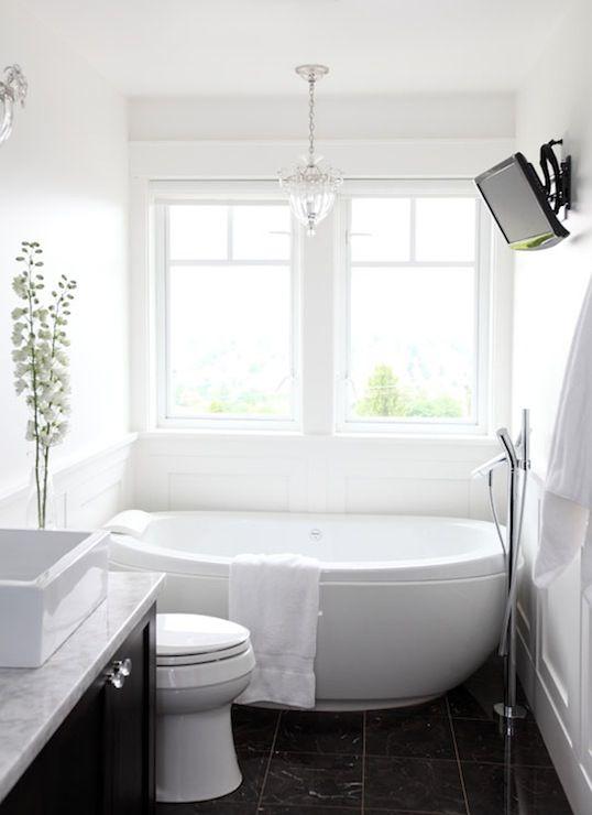 Pure by Ami Mckay - bathrooms - Benjamin Moore - Decorators White - white  bathroom, black and white bathroom, freestanding tub, bath under w.