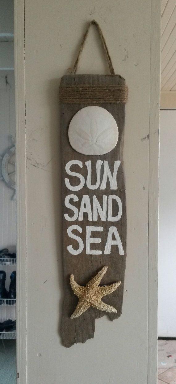 Sun Sand Sea White Seashell starfish Hanging by BeachBungalowInc, $14.99 Nautical Beach House Decor, Beach Wedding Decor, Beach Wedding Favors, Beach sign, painted wood sign