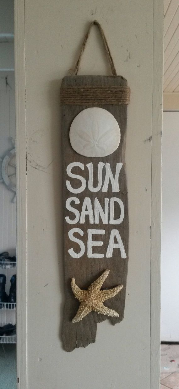 Sun Sand Sea White Seashell starfish Hanging by BeachBungalowInc, $14.99  Nautical Beach House Decor, Beach Wedding Decor, Beach Wedding Favors, Beach sign, painted wood sign