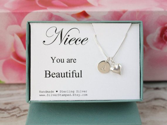 Gift for niece jewelry sterling silver with heart by SilverStamped