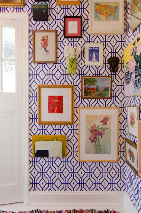 REJUVENATE | turn that entryway into your own little gallery with some great wallpaper and a mix of inexpensive art prints