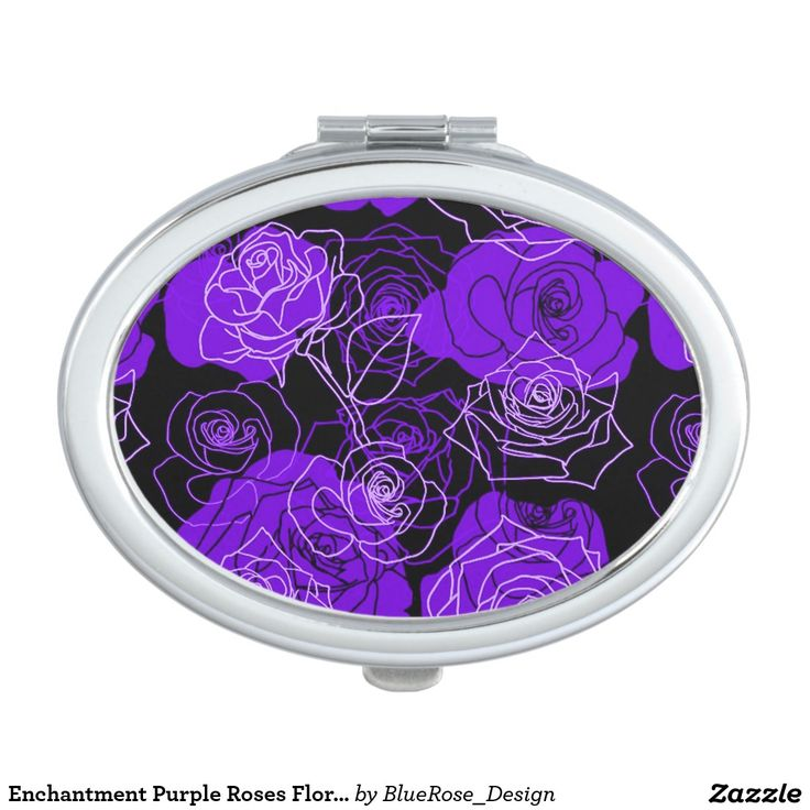 Enchantment Purple Roses Floral Compact Mirror
