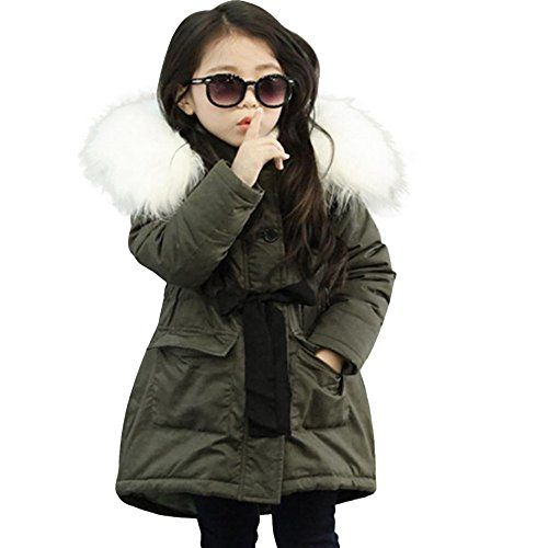 Kehen Fashion Kids Boys Girls Winter Long Jacket Padded Puffer Coat with Faux Fur Hood