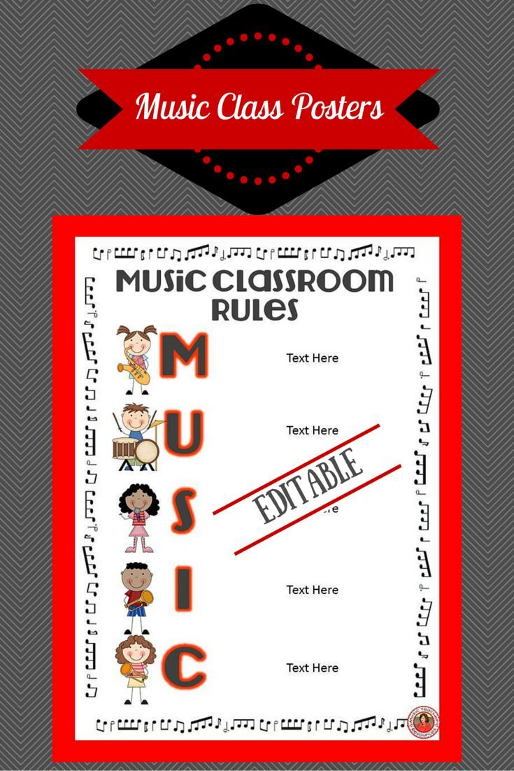 ♫ EDITABLE ♫ Music Class Rules Posters!!    Preview LINK - https://www.teacherspayteachers.com/Product/Music-Class-Rules-EDITABLE-Posters-1392099