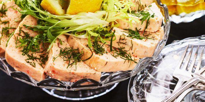 Lax- och skaldjursterrin med citroncrème