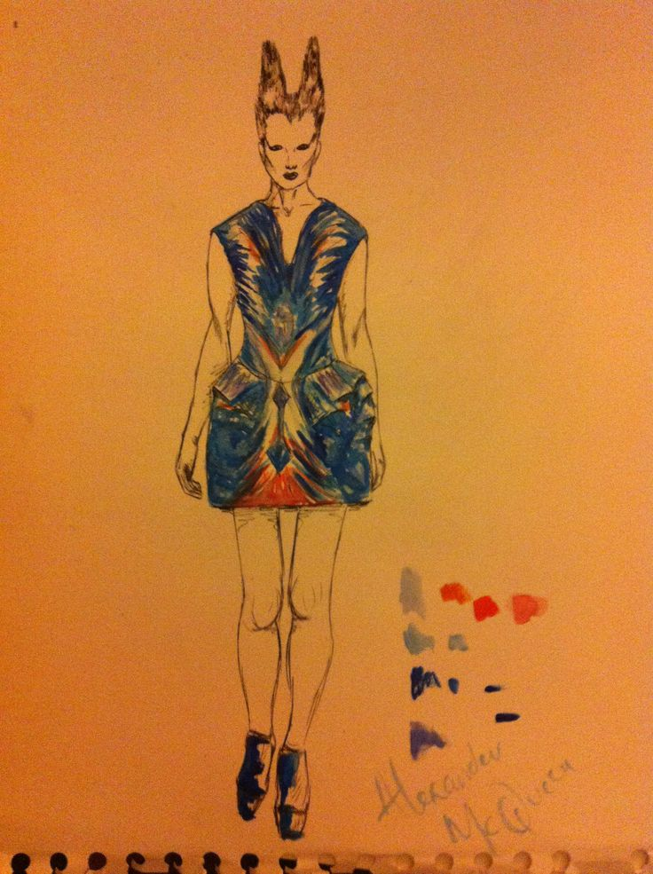 Alexander McQueen, Sea creatures collection fashion illustration
