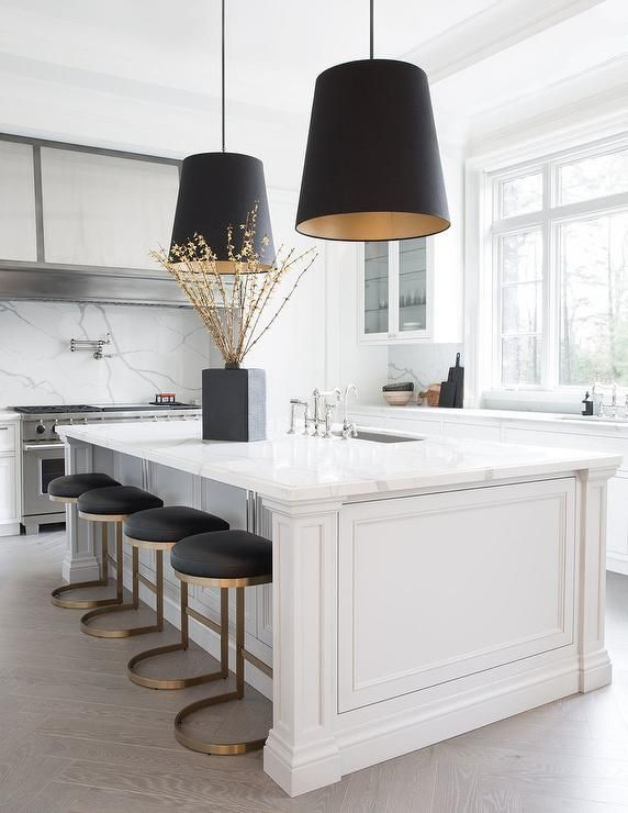 Contemporary Kitchen Features A White Marble Center Island With Gold And Black Rh Modern 196 Kitchen Accessories Decor Modern Kitchen Design Home Decor Kitchen