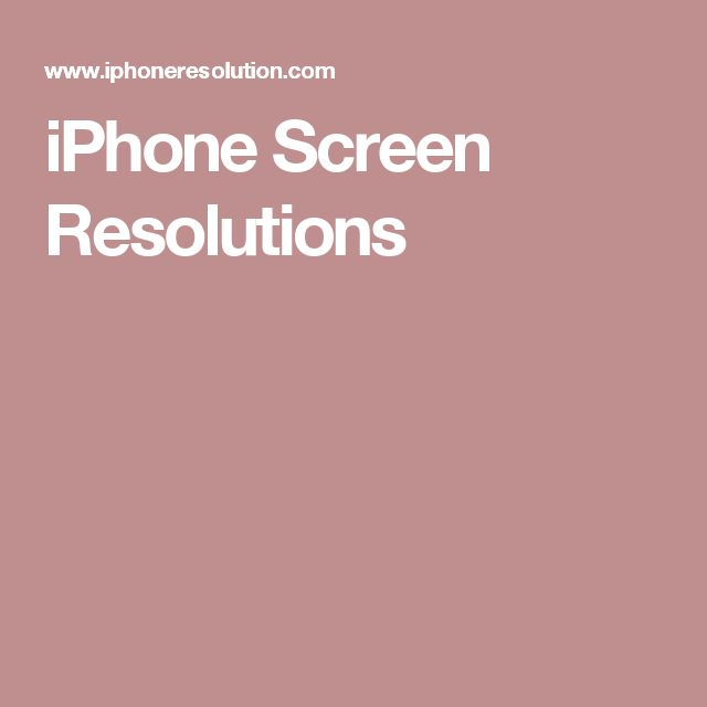 iPhone Screen Resolutions