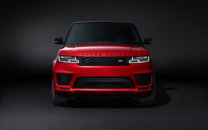 Download wallpapers Range Rover Sport Autobiography, 4k, studio, 2017 cars, front view, red Range Rover Sport, SUVs, Land Rover