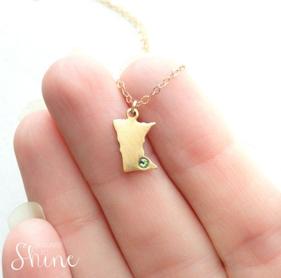 Dainty State Necklace  Going Away Gift  by DesignedToShineAcc, $28.00