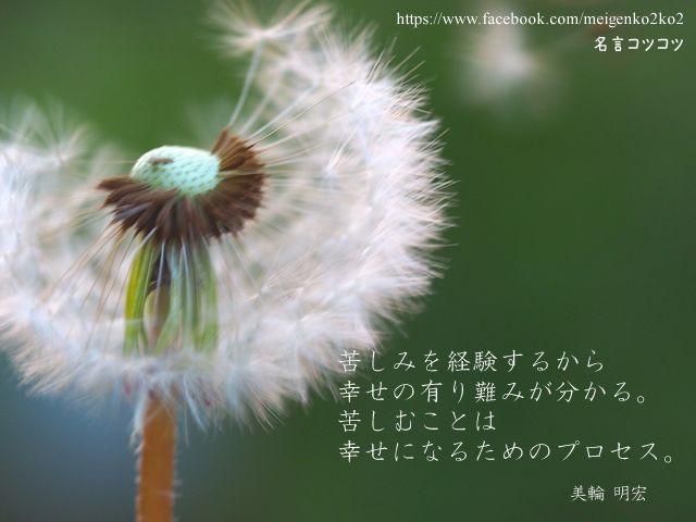 苦しみを経験するから幸せの有り難みが分かる。 苦しむことは幸せになるためのプロセス。 美輪 明宏