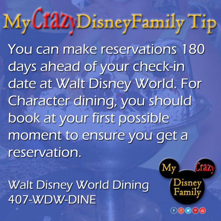 Book your Disney Dining Reservations EARLY!!! You can book up to 180 days in advance of your arrival date and make dining reservations for up to 10 days. So technically you can book out 190 days.  These spots GO FAST! Even if you wait even a few hours into the day and you may be have a hard time getting the best time at the best restaurants.  #MyCrazyDisneyFamily #Disney #disneytip #disneydining #wdw #magickingdom #epcot #animalkingdom #hollywoodstudios #tip #eatatdisney #disneydiningplan…