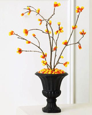 : Decor Ideas, Halloween Decor, Fall Decor, Corn Trees, Halloween Candy, Holidays, Candycorn, Candy Corn Crafts, Branches