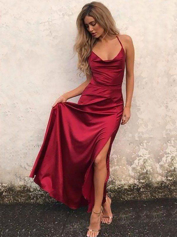 ad98f84fdb9ef A-Line Spaghetti Straps Sleeveless Floor-Length With Ruffles Satin Dresses  - Prom Dresses - Hebeos Online