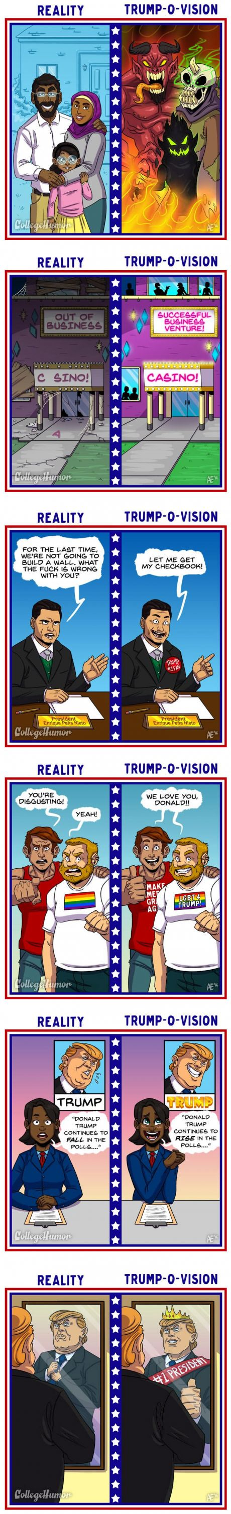 What The World Looks Like To Donald Trump (Illustrated by Annie Erskine)