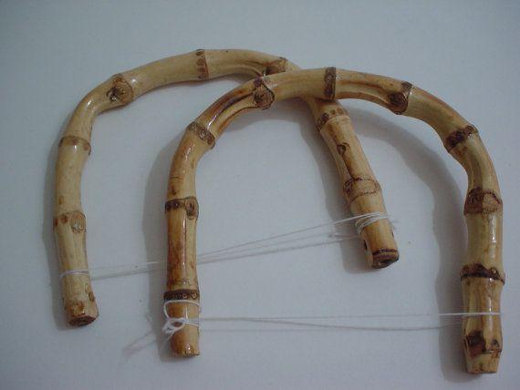 1 pair of bamboo bag handle handbag by ROYALcraftPT on Etsy