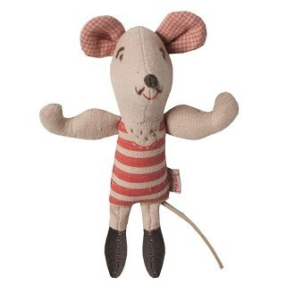 MAILEG CIRCUS STRONG MOUSE - $26.95 - The Maileg collection has a unique authentic look and touch created by designer Dorthe Mailil. The collection emphasizes contemporary season concepts within decoration for Christmas and Easter and a seperate collection for children. #sweetcreations #kids #toy #gifts #Circus #mouse #Maileg