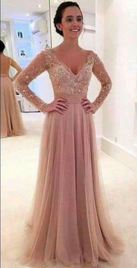 Long dress rosa palo color 2016