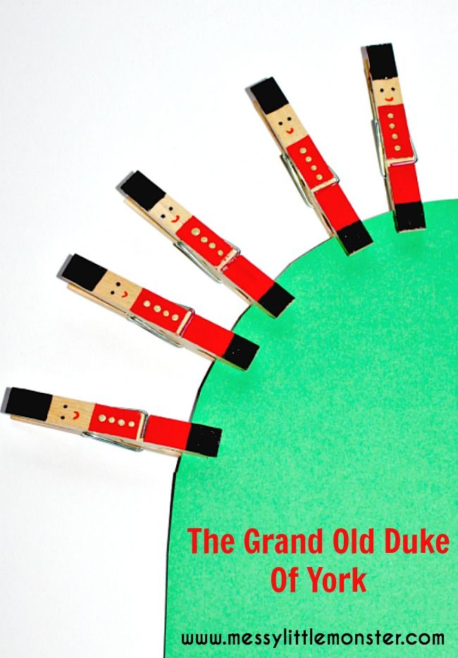 Messy Little Monster: The Grand Old Duke of York soldier peg craft (great nursery rhyme activity for preschoolers,  toddlers. eyfs fine motor skills)