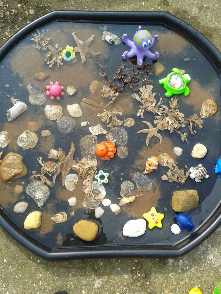 Small world ideas - DIY rockpool made with treasures collected on a beach walk…