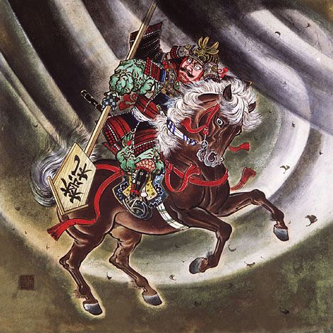 """Watanabe no Tsuna (953-1025) He is one person among four generals of subordinate of Minamoto no Yorimitsu. The scene to which he cut down the arm of the ghost woman in """"Rajomon"""" gate is drawn in this picture."""