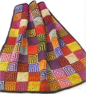 Геометрическое одеяло. Вязание спицами.