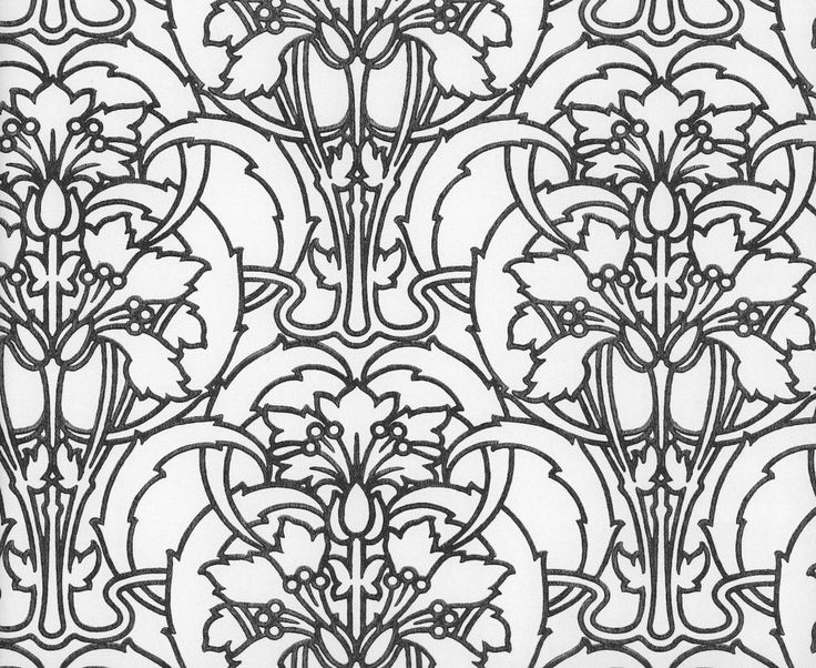 Wallpaper Sample Art Nouveau Style Black And White