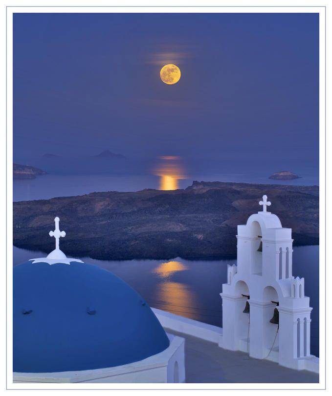 Santorini Church by moonlight, photo by  Brian Clark
