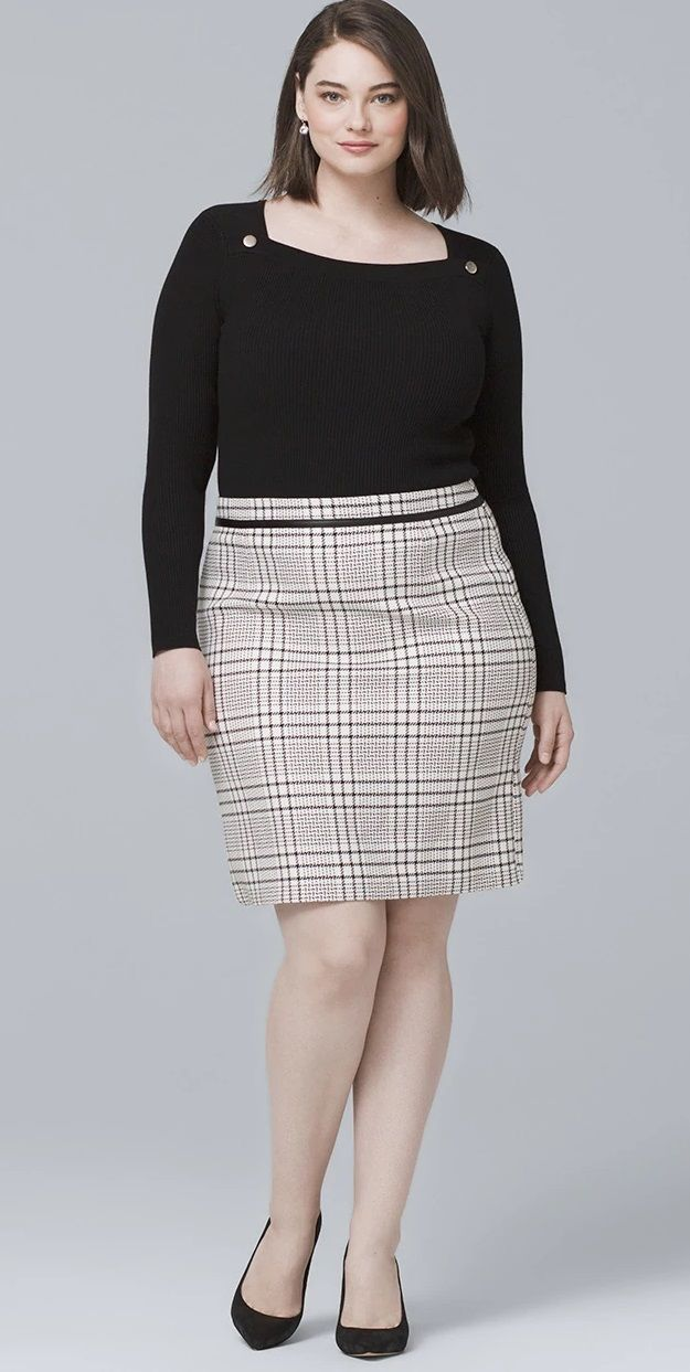 83129221872e6 Plus Size Plaid Skirt - Plus Size Work Outfit Idea  plussize