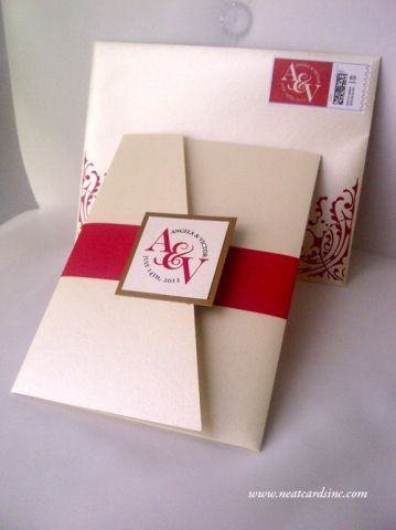 Red, Ivory and Gold pocket wedding invitation