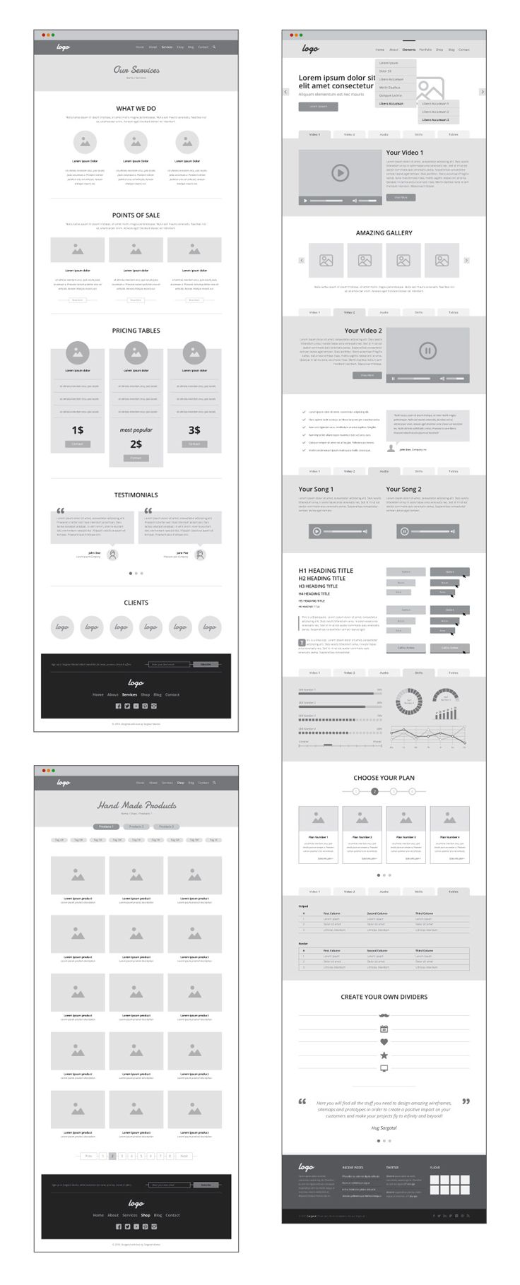 Sample of wireframes generated with UX Workflow - Wireframe and Sitemap Creator
