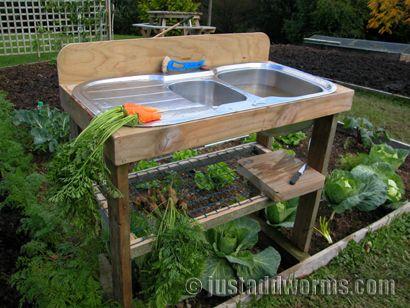 Garden Sink Bench |JustAddWorms Garden Blog
