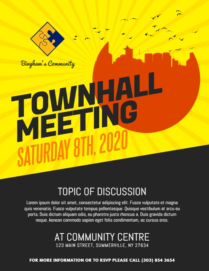 modern town hall meeting announcement poster flyer template family