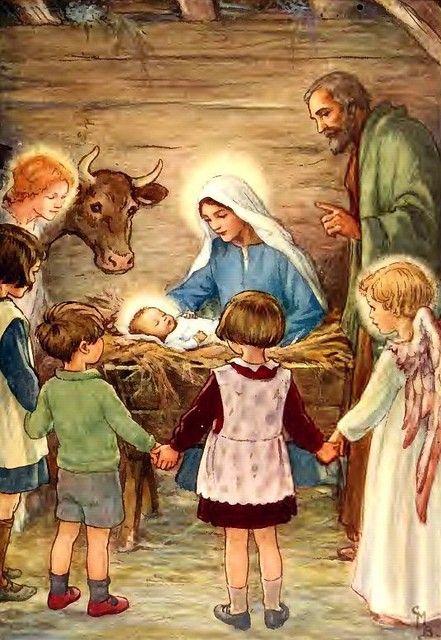 Cicely Mary Barker: Nativity scene from Christmas card
