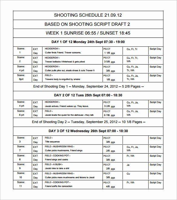 Film Shooting Schedule Template Inspirational 11 Shooting Schedule Templates Pdf Doc Schedule Templates Schedule Template Templates