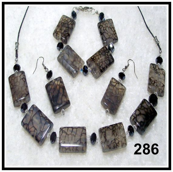 Black Dragon Vein & Crystal 3pc. Set by CrystalsAndLight on Etsy, $30.00