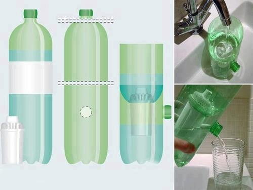 Filtro de agua utilizando garrafa pet.: Garrafa Pet, Plastic Bottle, Water Bottle, Idea, Filtro De, Blog, Water Purification, Water Filters, Drinks Water