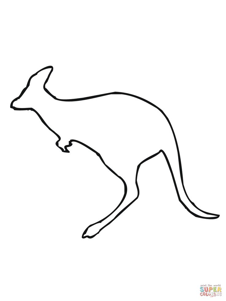 Leaping Kangaroo Outline coloring page SuperColoring