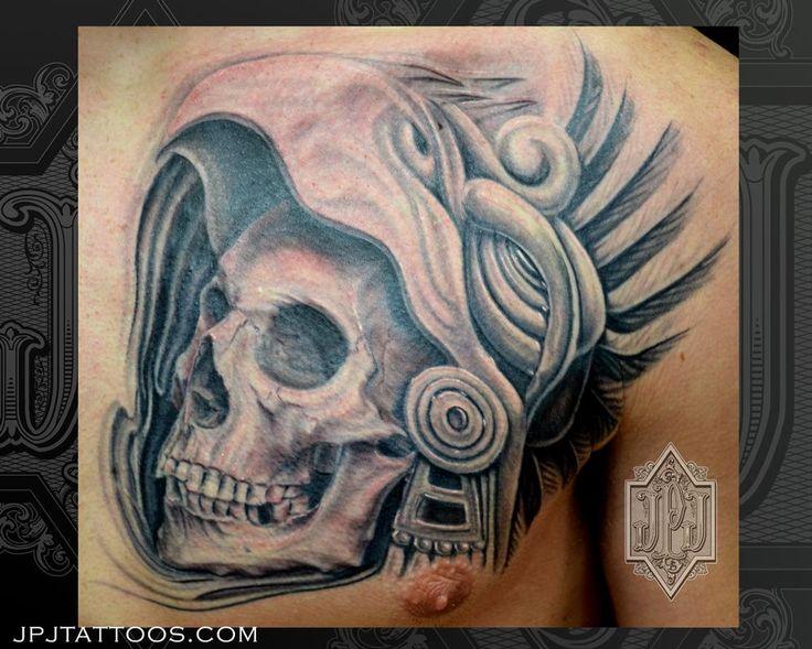 aztec skull by jose perez jr tattoonow skull warrior tattoo pinterest. Black Bedroom Furniture Sets. Home Design Ideas