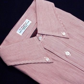 Sero Shirtmakers - The Purist - Pinpoint Oxfordcloth Buttondown - Banker Stripe Red