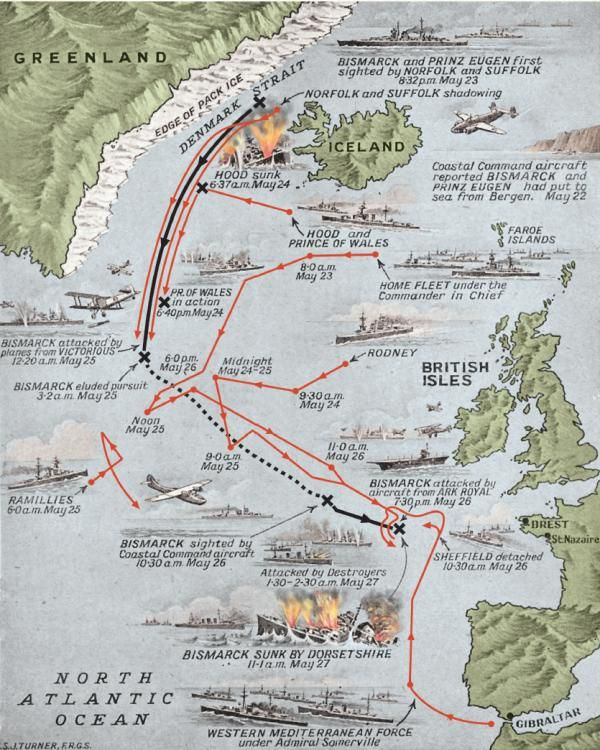 Sinking the Bismarck – Map of the last voyage of the Bismarck, May 1941. Military History Monthly Battle Maps.